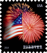 USPS Forever Stamps, Star-Spangled Banner, Roll of 100 (Fireworks)