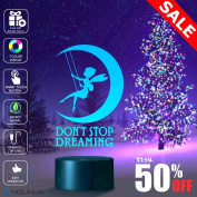 Don't Stop Dreaming, Dream lamp, Fairy and moon decoration, Kids Nightlight, Best Christmas Gift, Decoration lamp, 7 Colour Mode, Awesome gifts