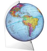 Replogle Panorama — Blue Ocean Political Globe, Raised Relief Map, Smooth 360° Rotation, Acrylic Lightweight Base, Minimalistic Desktop Design