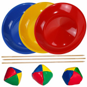 Juggling Set, 3 Spinning / Juggling Plates with 3 Wooden Sticks and 3 Juggling Balls, Mixed Colours - SchwabMarken