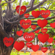 Mtlee 20 Pieces Valentine's Day Hanging Hearts Lawn Decorations for Wedding and Party, Red