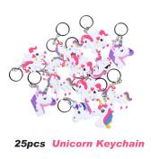 Rainbow Unicorn Party Favour Keychain Pack, Goody Bag Toys, 25pcs