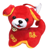 Lucore 10cm Happy Puppy Dog Plush Stuffed Animal Toy Decoration - 2018 Chinese New Year Red Puppy Hanging Doll Lucky Charm Ornament with Bell Collar