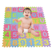 Lufore 36 Pieces Kids Playing Puzzle Mats & Foam Educational Children Alphabet and Numbers Mat