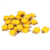 Unique Bargains Yellow RCA Y Splitter Male to 2 Female M/F Stereo Audio Video Connector 25pcs