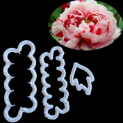 timeracing 3 Pcs Peony Flowers Embossed Fondant Biscuits Moulds Cookie Mould DIY Cake Baking Tools Cookie Cutters