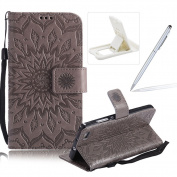 Wallet Case for Huawei P8 Lite,Strap Flip Case for Huawei P8 Lite,Herzzer Retro Elegant [Grey Mandala Flower Pattern] Stand Function Magnetic Smart Leather Case with Soft Inner for Huawei P8 Lite + 1 x Free White Cellphone Kickstand + 1 x Free Silver S ..
