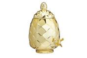 BarCraft Tropical Chic Glass Pineapple Drinks Dispenser, 6 Litres (10.5 Pints) - Metallic Gold Finish