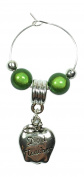 No 1 Teacher Apple Wine Glass Charm with Gift Card Handmade by Libby's Market Place