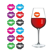Kicode 6Pcs/1Bag Novelty Dedicated Wine Glass Lip-Shaped Label Marker Recognizer Silicone Party Tool Random Colour