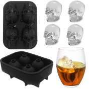 Ice Cube Tray Mould,Cheap4uk BPA Free Food Grade Silicone 3D Skull Ice Cube Maker for Whiskey Cocktails Halloween