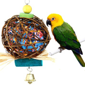 Parrot Chewing Toy for Small Medium Birds by QIBOX Natural Hand-made Chewing Hanging Toy, Rattan Ball Cage Toy Preening Toy for Bird Parrot African Budgie Macaw Parakeet Cockatiel Lovebird Cage Toy