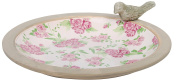 Esschert Design USA Aged Ceramic Bird Bath Rose Print