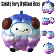MORWIND Starry Sky Colour Creazy Soft Sheep Cartoon Squishy Slow Rising Squeeze Toy, Jumbo Slow Rising Kawaii Soft Cute Hand Pillow Bread Cream Scented Squeeze Hand Wrist Gift Stress Toy