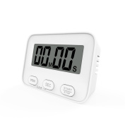 Nuovoware Digital Timer, Digital Kitchen Timer Cooking Baking Exercise Timer with LCD Display Strong Magnetic Back, Large Digits, Loud Beep Alarm, Minute Second Count Up and Countdown, White