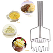 Potato Masher, outgeek Potato Ricer Dual Action Stainless Steel Food Masher with Ergonomic Handle