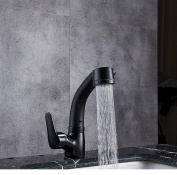 ZGBZZ All copper body, lifting pull basin hot and cold faucet, retractable rotating shampoo black shower head, can lift rotation pull, can be used on the stage basin under the basin