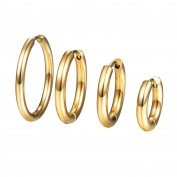 PROSTEEL Hoop Earrings Set for Women,10/14/16/20MM Diameter, 18K Gold Plated/316L Stainless Steel/Black Colour