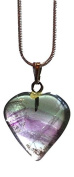 Reiki Energy Charged Banded Fluorite Heart Crystal Pendant with Silver Chain