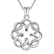 Necklace for Womens Fine Jewellery s925 Sterling Silver Irish Infinity Endless Love Celtic Knot Pendant Necklace