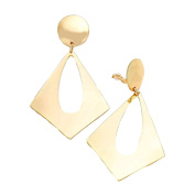 Jewellery Ant Hony Long Big Hoop Clip On Earrings On Creole Earrings Gold-Plated Shiny Gold 9 cm Long