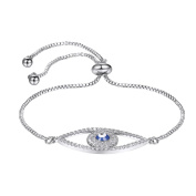 Suplight Charm Bracelets Clear Cubic Zirconia Evil Eye Protection Lucky Bracelet Gold / Platinum Plated Fashion Jewellry Gift for Girls