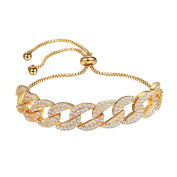 Suplight Woman Bracelets Gold/ Silver/ Black Colour Chain Bracelet Crystal Bangles with Clear Cubic Zircons Party Jewellry