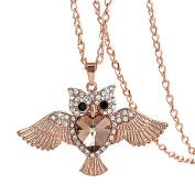 Lovely Owl Rhinestone Pendant Fashion Women Long Necklace Jewellery Charm Gift
