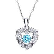 "Hanana ""Everlasting Love"" Heart Necklace Pendant for Women Girls,with Light-Blue Shinning Crystal from Crossfor, 925 Sterling Silver 45cm"