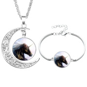 Pu Ran Elegant Glass Cabochon Moon Pendant Unicorn Necklace Bracelet Bangle Jewellery Set