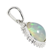 Ethiopian Opal Gemstone 925 Sterling Silver Pendant White Rhodium Plated SHPN0401