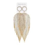 JaneDream Women Bohemian Geometric Crystal Long Tassel Earrings Dangle Drop Earrings Sexy Luxury