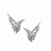 NANHONG Fashion Women 925 Sterling Silver Jewellery Angel Wings Crystal Ear Stud Earrings