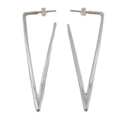 Long 925 Silver Triangular Drop Earrings
