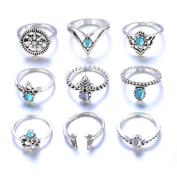 9pcs/Set Women Bohemian Vintage Silver Stack Rings Above Knuckle Blue Rings Set Beauty Top