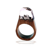 18mm Handmade Wood Resin Ring with Magnificent Tiny Fantasy Secret Landscape Beauty Top