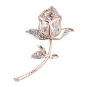 Romantic Rose Crystal Design Brooch Wedding Bridal Pin Brooch Beautiful Decor Gift Gem Bling Fashion Pin