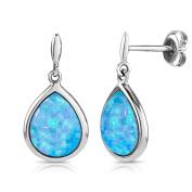 Blue Opal Earrings, 925 Sterling Silver, 10x8mm Teardrop Shape