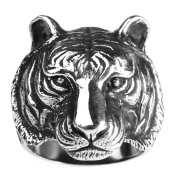 Bishilin Fashion Jewellery Mens Rings Stainless Steel High Polished Tiger Head Rings Silver