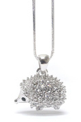 Crystal White Gold Plated Hedgehog necklace with gift pouch