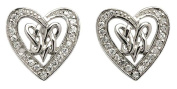 Sterling Silver Celtic Double Intertwined Heart Earrings Set with CS Diamonds for Girls and Women