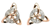 Sterling Silver & Rose Gold Celtic Trinity Knot Circle Earrings with Sparkling CZ Diamonds for Girls and Women