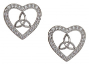 Sterling Silver Stone Set Celtic Trinity Knot with Heart Earrings Set for Girls and Women