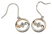 Rose Gold & Sterling Silver Ying Yang Celtic Claddagh Harmony Earrings Set for Girls and Women
