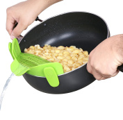 Silicone Clip Strainer - Clip On Design - Adjustable on Different Pot Sizes - Compact and Flexible - Green Colour - by Utopia Kitchen