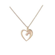 Women Fashion Jewellery gold Plated Heart-Shaped Horse Necklace Metal Alloy Pendant Necklace