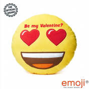 'Be my valentine.' Heart Eyes emoji® Brand Cushion