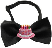 Mirage Pet Products 47-36 BK Pink Birthday Cake Chipper Black Bow Tie, Small