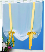 """'Magical Cheesecloth Top """"Colourful Daylight, Semi-Transparent White Voile Fabric with Two Decorative Satin Ribbons and Bows – Choice of 4 Colours and 3 Sizes – Half-curtain/Bistro Curtain/A Gem in Every Room/From The Kamaca Shop"""