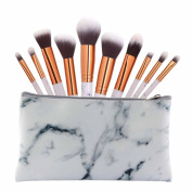 NEW ARRIVE! DELOITO 10pcs Multifunctional Marble Partten Makeup Brush Set Professional Concealer Eyeshadow Brush Kit
